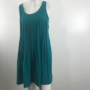Aritzia Babaton Ilja Pleated Green/Blue Dress